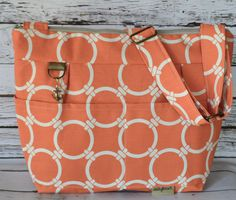 Market Tote in Orange & Natural - Nautical - women's purse Lightweight and Washable by Darby Mack Made in the USA by DarbyMack on Etsy