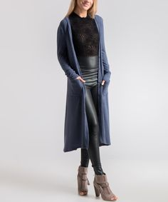 Take a look at this Navy Brushed-Knit Open Duster today!