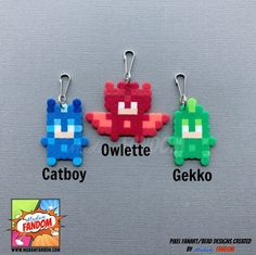 valentines day party favors PJ Masks Party Favors Zipper Pulls - Valentines Day Gifts for Kids - Catboy Owlette Gekko - PJ Masks Party Supplies Pearler Bead Patterns, Perler Patterns, Pearler Beads, Fuse Beads, Pj Masks Party Favors, Mask Party, Pj Masks Valentines, Pj Max, Iron Beads