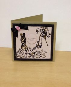 Card made using the Tattered Lace dress and shoe die !!!!