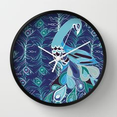 Peacock Illustration Wall Clock