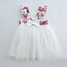 Fresh Floral Flounced Tulle Dress for Baby Girl