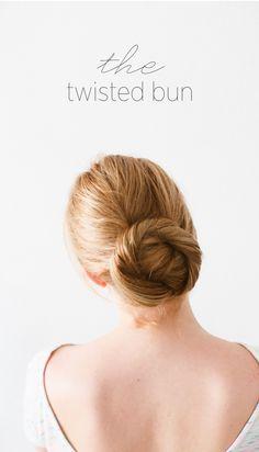 DIY Twisted Bun Hair Tutorial via oncewed.com