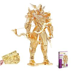 """Piececool 3D Metal Puzzle Jigsaws of """"Knighit of Firmament"""" Gold 3D Metal Assembly Model Kits DIY Funny Creative Gifts & Toys"""