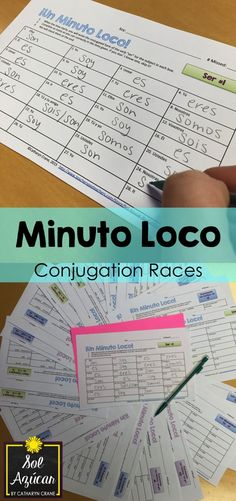 Minuto Loco - The Present Tense Collection - Conjugation Races Minuto Loco Conjugation Drill Races - By Sol Azúcar Spanish Grammar, Spanish Vocabulary, Spanish 1, Spanish Language Learning, Spanish Teacher, Spanish Classroom, Vocabulary Games, Foreign Language, Dual Language