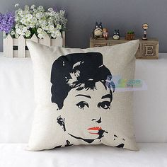Pop Art Modern Audrey Hepburn Marilyn Printing Cotton Linen Cushio Cover Decor
