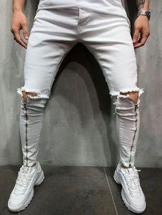 Big Men Fashion, African Men Fashion, Mens Fashion Suits, Urban Fashion, Men's Fashion, Ripped Knees, Ripped Jeans, White Skinny Jeans, Skinny Fit