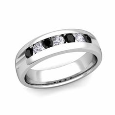 Customizable Channel Set Wedding Band Ring for Men with White Diamonds and Black Diamonds.