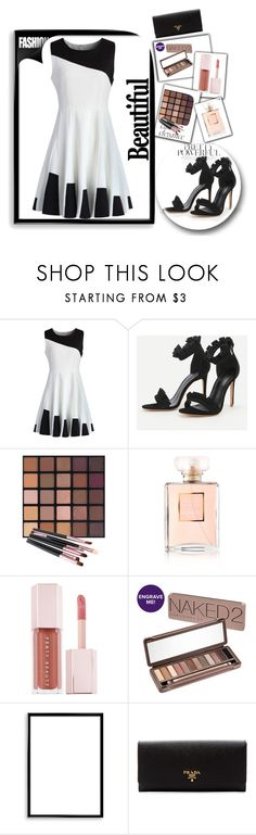 """Black and White skater dress"" by dijana1786 ❤ liked on Polyvore featuring Chicwish, Chanel, Puma, Urban Decay, Bomedo and Prada"