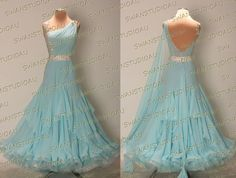A BRAND NEW READY TO WEAR AQUA BLUE GEORGETTE BALLROOM DANCE DRESS SIZE:S US 4-6