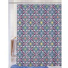 Soft Microfiber Fabric Printed Shower Curtain, Geometric Damask Design, 70x72, Andi