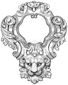 Vintage frame amp lion head Bitmap copy my vector drawing Baroque Tattoo, Baroque Art, Violet Tattoo, Ornament Drawing, Animal Body Parts, Carving Designs, Free Vector Art, Vintage Frames, Sculpture