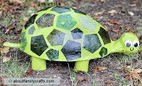 """I especially like this guy's hexie patchwork shell Turtle Tutorial at About Family Crafts Blog """"Awhile back I posted on Facebook and asked everyone what sort of paper mache projects I should make an"""