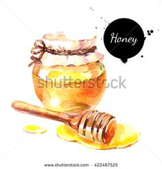 Watercolor hand drawn fresh honey. Isolated organic natural eco illustration on…