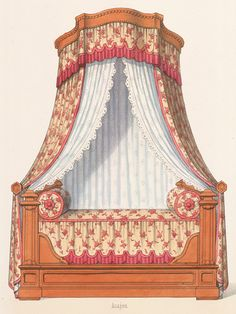 Vintage Furniture, Painted Furniture, Furniture Design, Interior Design Sketches, Interior Design Inspiration, Rococo Style, Bed Styling, Art Design, Window Treatments