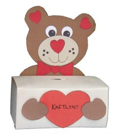 Another Kleenex Valentine Box~Love These!!-- could use any animals really.. like a pony;) or a puppy... or maybe Bob the builders head!
