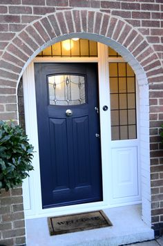 Rockdoor Newark are very popular. Rockdoors are the only composite door manufacturer to make a door so suited to the Fitted from Brick Porch, Front Door Porch, House Front Door, House With Porch, Front Doors, Porch Doors Uk, Porch Entrance, Front Porches, Exterior Door Colors