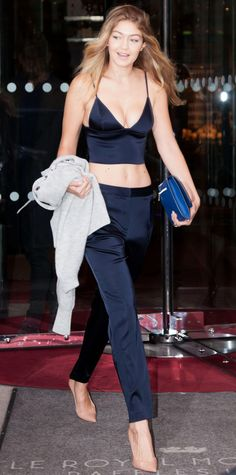Gigi Hadid was snapped showing off her impeccable off-duty style in between runway appearances.