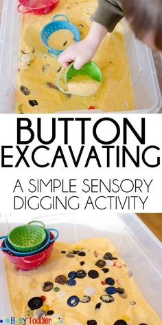 "Try the ""button excavating"" #SensoryActivity ! It is a perfect indoor activity for toddlers and #preschoolers that doesn't need much preparation. #SensoryPlay #Montessori"