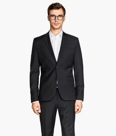 Black premium-quality two-button blazer with Italian wool, chest pocket, and removable handkerchief. | H&M Men's Classics