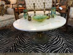 """Lovely Carrera Marble Top Coffee Table   Stellar Acanthus Leaf Base  3' Diameter x 16"""" High   $225  Eclectic Treasures Booth #8279  Lula B's..."""