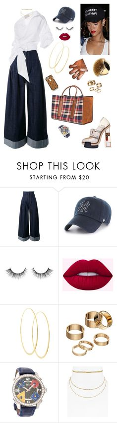 """Late night run in New York!"" by styledbystaes ❤ liked on Polyvore featuring Jacquemus, Alexander McQueen, Balenciaga, '47 Brand, Lime Crime, Lana, Apt. 9 and Aqua"