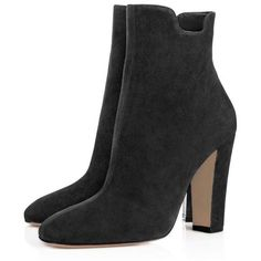 YDN Women Western Suede Ankle Boots Closed Toe Chunky Heel Cut-out... ($27) ❤ liked on Polyvore featuring shoes, boots, ankle booties, cut out bootie, wide width ankle boots, chunky heel booties, suede bootie and suede booties