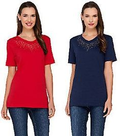 As Is Quacker Factory Good as Gold Set of 2 Sparkle V-neck T-Shirts
