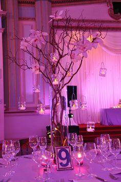 Manzanita & votives. #wedding #decor