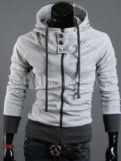 Chaqueta de algodón de cuello alto gris luz especial para hombres - Milanoo.com // Wishlist