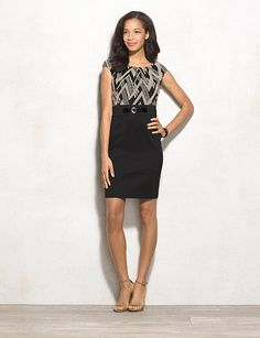 Belted Chevron Sheath Dress | dressbarn