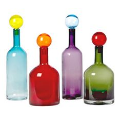 Bubbles & Bottles Carafe - Set of 4 Multi-colour by Pols Potten - Design furniture and decoration with Made in Design