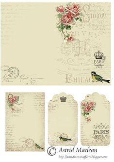 Astrid's Artistic Efforts: Springtime in Paris freebie Images Vintage, Vintage Tags, Vintage Labels, Vintage Ephemera, Vintage Paper, Vintage Prints, Retro Vintage, Vintage Style, Pocket Letter