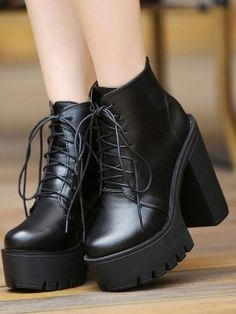 Shop Black Lace Up Platform Boots from choies.com .Free shipping Worldwide.$44.99
