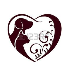 silhouette chat: Coeur amour chat chien