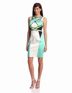 Amazon.com: Jax Women's Sleeveless Satin Inset Colorblock Dress: Clothing