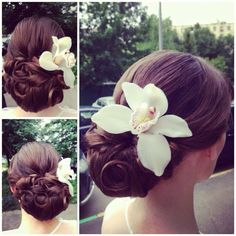 Wonderful low updo with flower #hairstyles #hairstyle #hair #long #short #medium #buns #bun #updo #braids #bang #greek #braided #blond #asian #wedding #style #modern #haircut #bridal #mullet #funky #curly #formal #sedu #bride #beach #celebrity  #simple #black #trend #bob