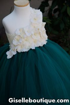 Flower girl dress Emerald with Ivory by giselleboutique on Etsy, $90.00
