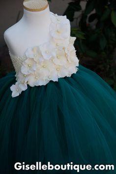 Flower girl dress Emerald with Ivory Hydrangeas. baby tutu dress, toddler tutu dress, wedding, birthday, FREE HEADBAND