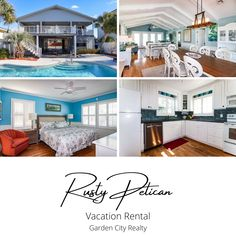 Rusty Pelican is a four-bedroom, two-bath third row, channel front beach house located 0.6 miles south of Garden City Pier. Sleeping accommodations include one king and three queen-sized beds plus one queen-sized sofa bed. Outdoor amenities include a private swimming pool, pool furniture, covered porch, enclosed shower, and private floating and stationary docks. Hardwood Floors, Flooring, Pool Furniture, Central Heating, Vacation Rentals, Sofa Bed, Swimming Pools, Stationary, Beach House
