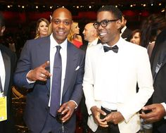 Dave Chappelle and Chris Rock -- No-holds-barred awards show host Chris Rock (right) and former Comedy Central star Dave Chappelle posed for a photo during a commercial break.  Credit: Matt Sayles/Invision/AP
