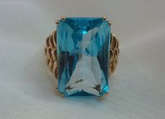 Blue Topaz Ring Fancy Cut Large Stone 14K by TracyBDesignsAZ, $659.00