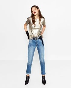 Image 1 of METALLIC SWEATER WITH SHORT SLEEVES from Zara