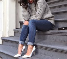 Image via We Heart It https://weheartit.com/entry/169820224 #acne #blackandwhite #blue #brunette #clutch #fashion #fashionweek #grey #highheels #levis #model #pretty #pullover #staircase #streetstyle #longbob #denimjeans #ladyholmes