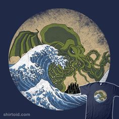 The Great Old One meets The Great Wave Off Kanagawa by Katsushika Hokusai. A lovecraftian take on the notorious ukiyo-e classic, celebrating the rise of Cthulhu (with even R'lyeh showing up in the background). Octopus Art, Great Wave Off Kanagawa, Japanese Illustration, Green Art, Old Ones, Zine, Original Art, Graphic Tees, Horror