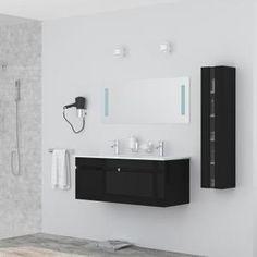 Meuble sous vasque + double vasque céramique + colonne de salle de bain + miroir - LIVRÉ ENTIÈREMENT MONTÉ