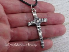 Sterling silver Cross necklace for a man or a woman, hand forged, fused, reticulated and oxidized on a black leather cord $70.00 by JoDeneMoneuseJewelry