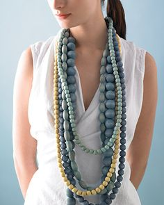 Dyed Wooden Beads Necklace- Martha