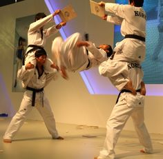 One of the taekwondo performers is kicking two boards at the same time.JPG 500×491 pixels