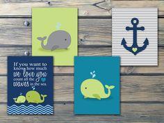 Nautical Boys Nursery Art Navy Green Teal Whales n by Benzarina